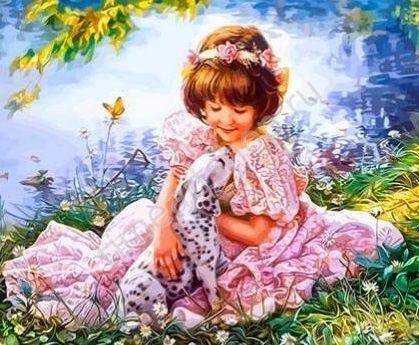 Девочка с далматинцем, картина раскраска по номерам ...