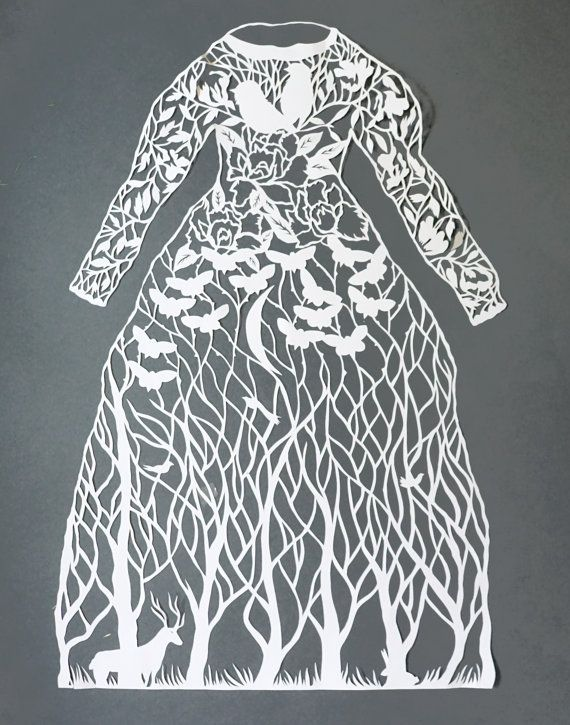 "Célèbre Papercut artwork, hand cut paper art ""Dress"" original paper  US36"
