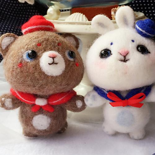 Handmade needle felted felting cute animal project bear bunny doll   Feltify