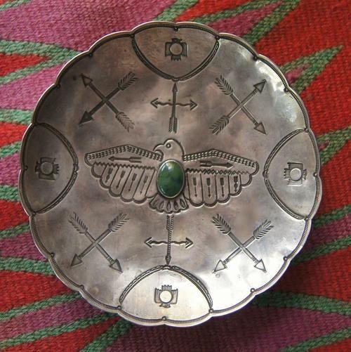 Vintage Navajo footed bowl with beautiful stamp work!