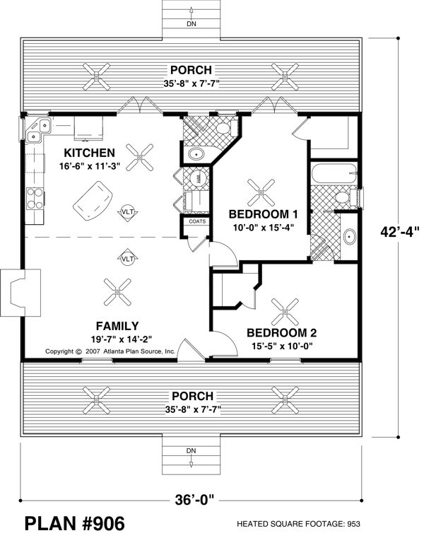 Small House Plan - Approx. 970 Sq. Ft. - 2Br/1.5Ba | House Plans