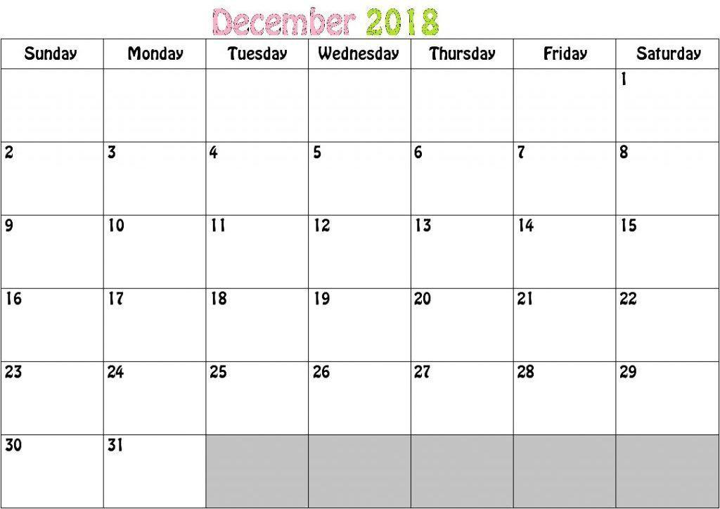 December Calendar 2018 Malaysia December 2018 Calendar December