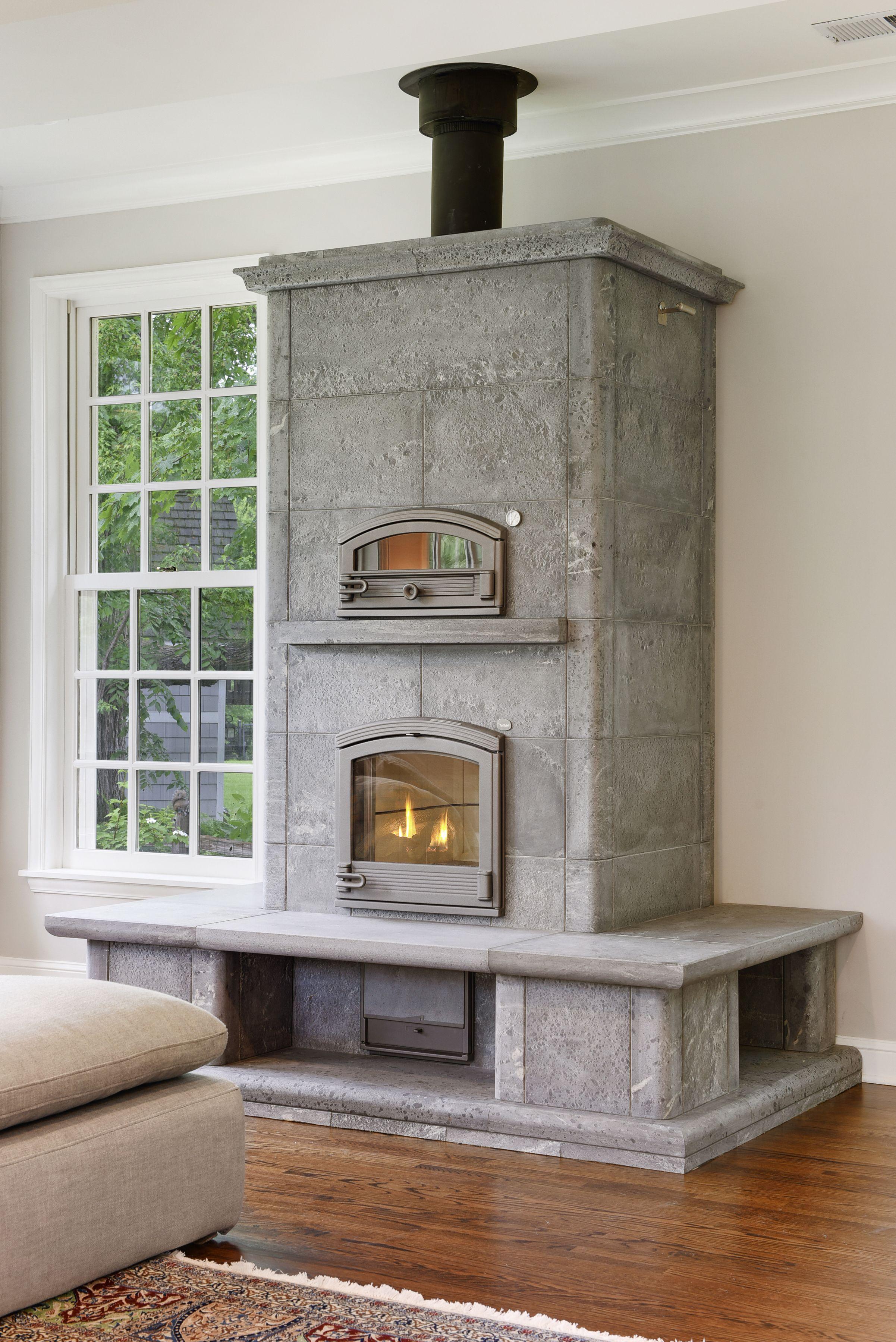 Edina Tulikivi Masonry Fireplace Kitchen Fireplace