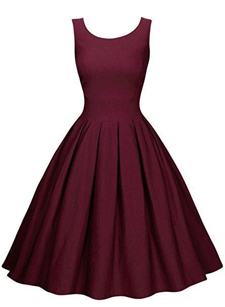 177ade135fc8e8 Miusol Damen Elegant Rundhals Traegerkleid 1950er Retro Cocktailkleid  Faltenrock Kleid weinrot Groesse L