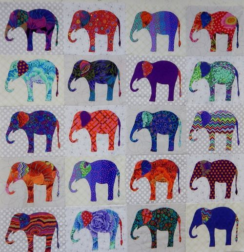 Elephant quilt in kaffe fassett fabric at waterwheel house for Childrens elephant fabric