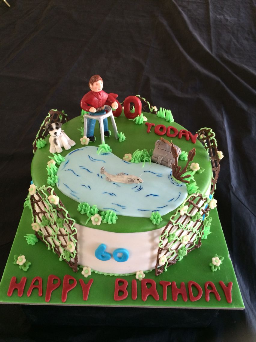60th birthday cake a fisherman with Zimmer frame by swirlsandpearls ...