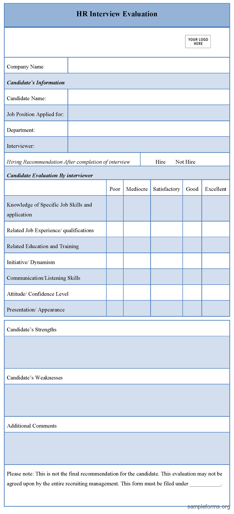 HR Interview Assessment Form forms Pinterest – Interview Evaluation Form