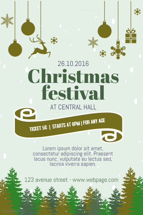 Christmas Graphics 2019.Christmas Festival Event Poster Template Diy Graphics