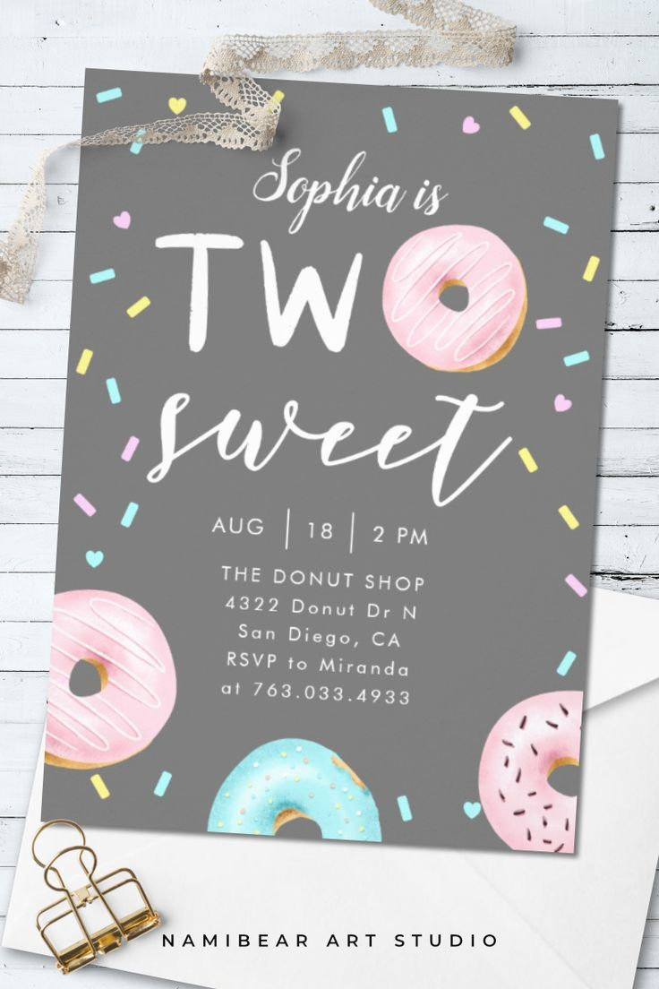 Two Sweet Donut Theme Birthday Party Invitation | Zazzle.com #tropicalbirthdayparty
