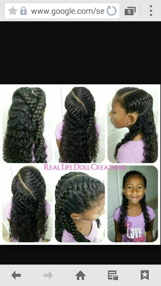 French Braids On Natural Mixed Curly Hair Little Girl Hairstyles Curly Hair Styles Naturally