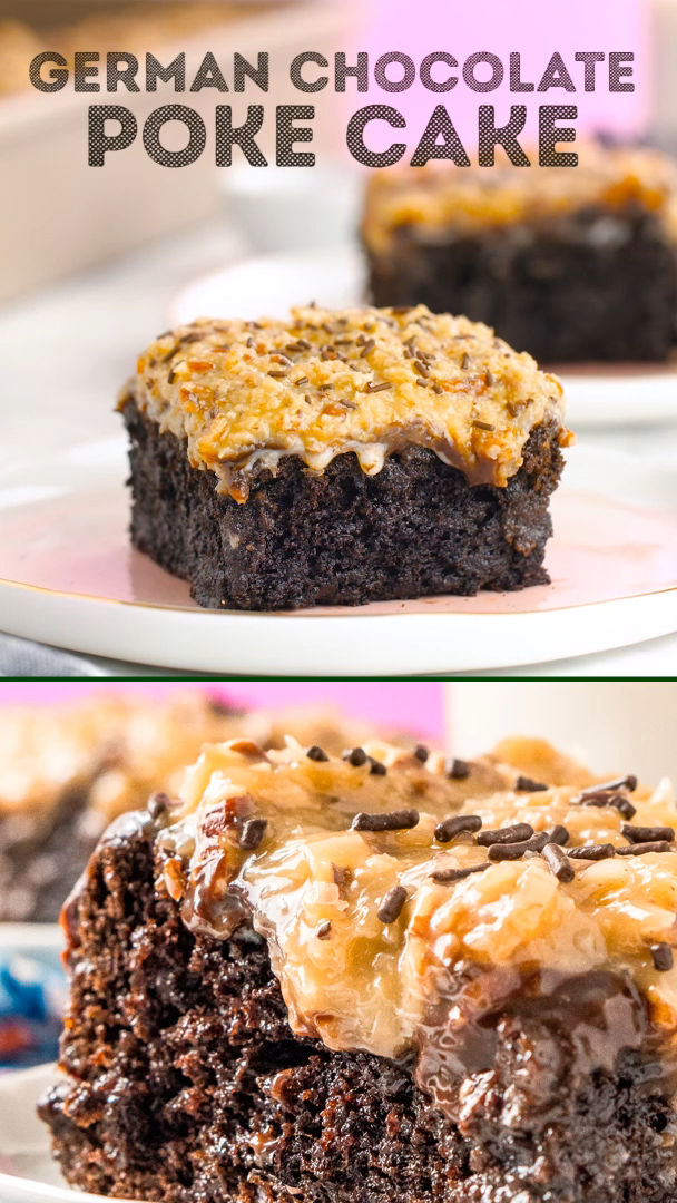 German Chocolate Poke Cake Video German Chocolate Cake Recipe Desserts Easy German Chocolate Cake