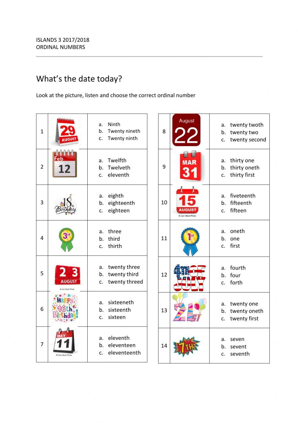 Ordinal Numbers Interactive And Downloadable Worksheet You Can Do