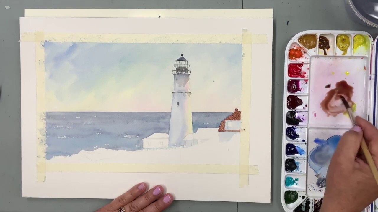 Watercolor Painting Of A Lighthouse Youtube Watercolor