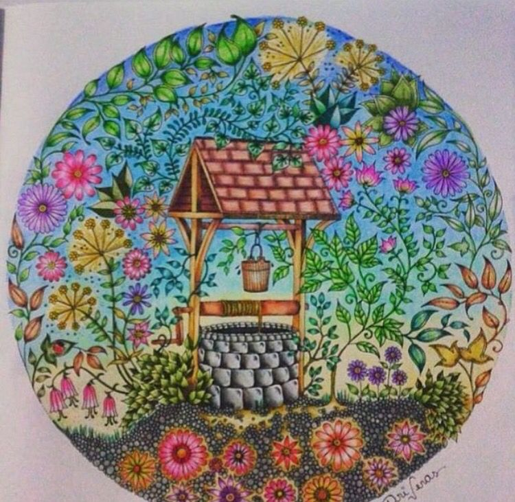 - Well. Secret Garden. Poço. Jardim Secreto. Johanna Basford Coloring Book  Art, Secret Garden Coloring Book, Basford Coloring Book