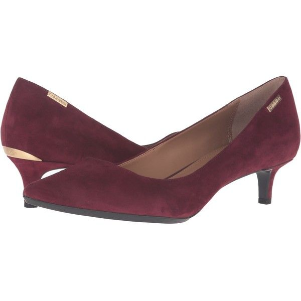 Calvin Klein Gabrianna (Cabernet Suede) Women's 1-2 inch heel Shoes (69  CAD) ❤ liked on Polyvore featuring shoes, pumps, red, red pointed toe pumps…