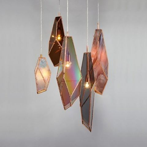 Copper Plated Stained Gl Pendant Lamps With Crystal