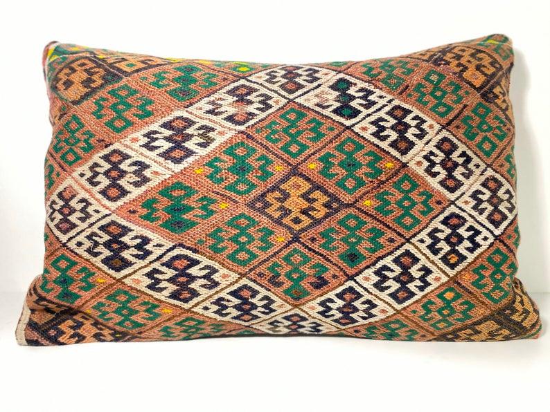 Kilim Lumbar Pillow 16x24 Unique Home Decor Large Pillow kelim kussens 60x40 cm Vintage Kilim pillow housewarming gift Lumbar Pillow