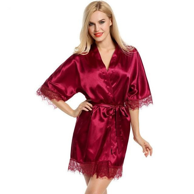 1be2309575594 Sexy Dressing Gown Women Short Satin Bride Robe Lace Silk Kimono ...