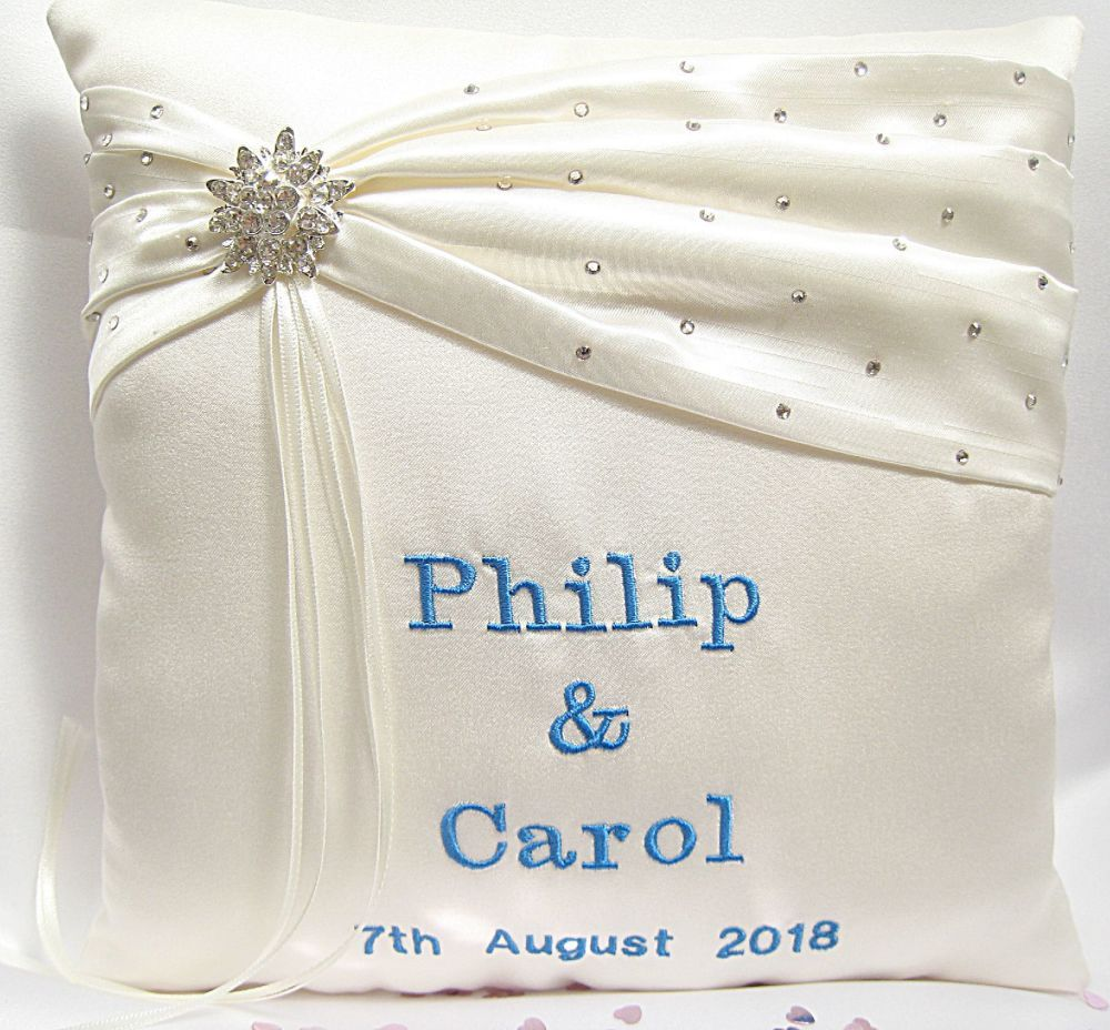 Personalised wedding ring cushions custom made to order