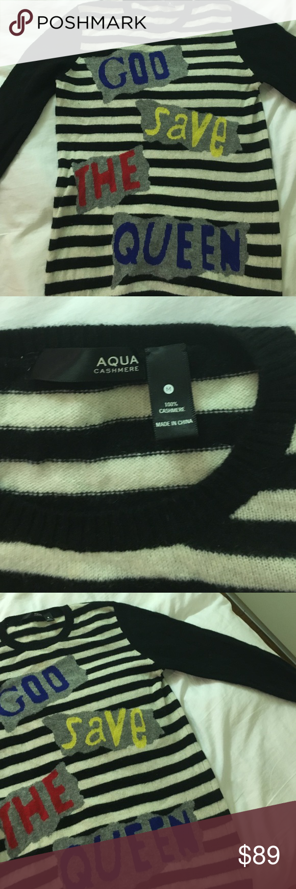 Cashmere Sweater God Save The Queen! No holes no moth holes or anything. Only worn a handful of times. Incredibly soft. Amazing condition. Aqua Sweaters Crew & Scoop Necks