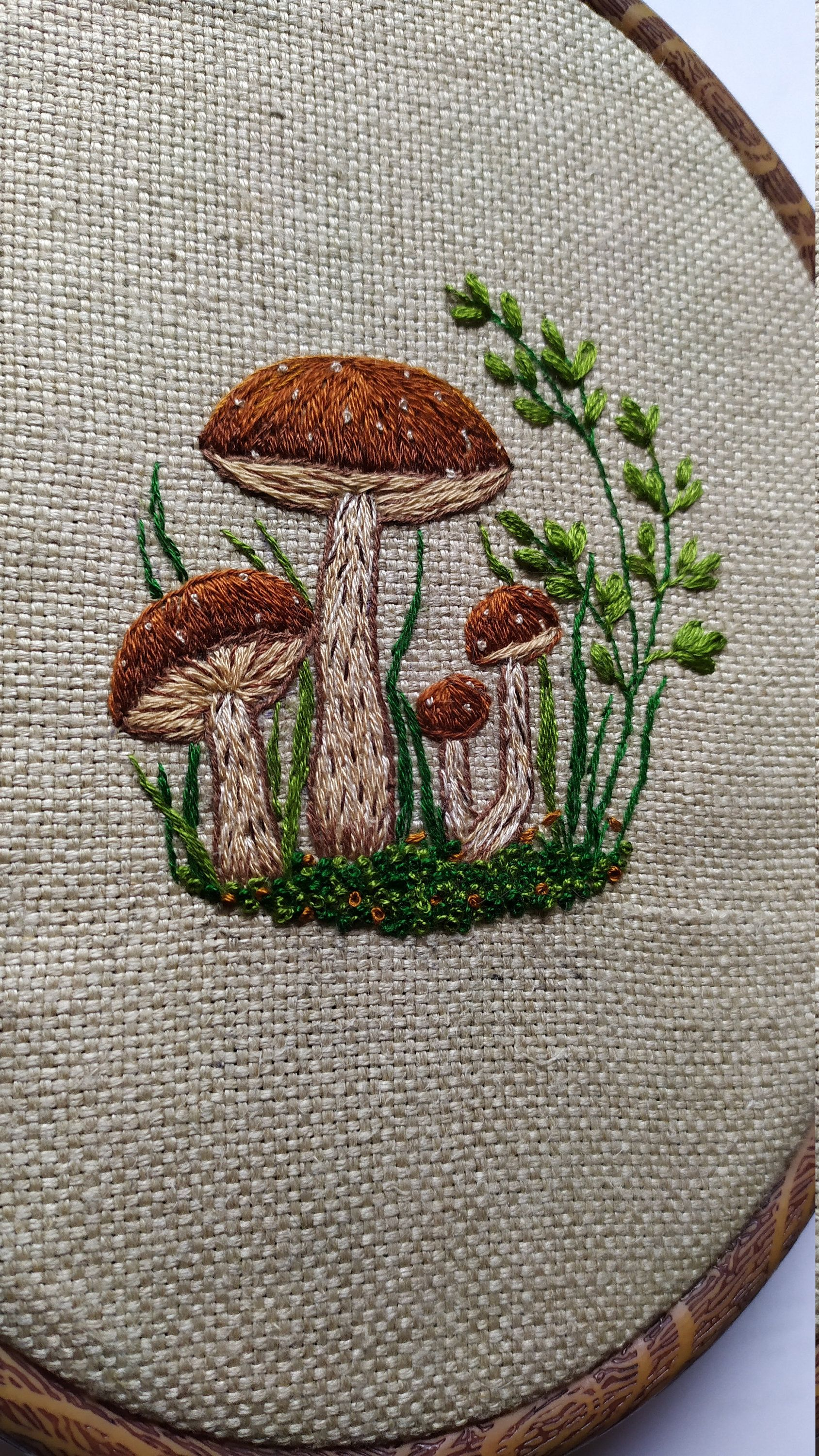 Photo of Wall Hanging Nature Mushrooms Embroidery, Framed embroidered Art, Handmade Embroidery Art, Home decor, Wall art