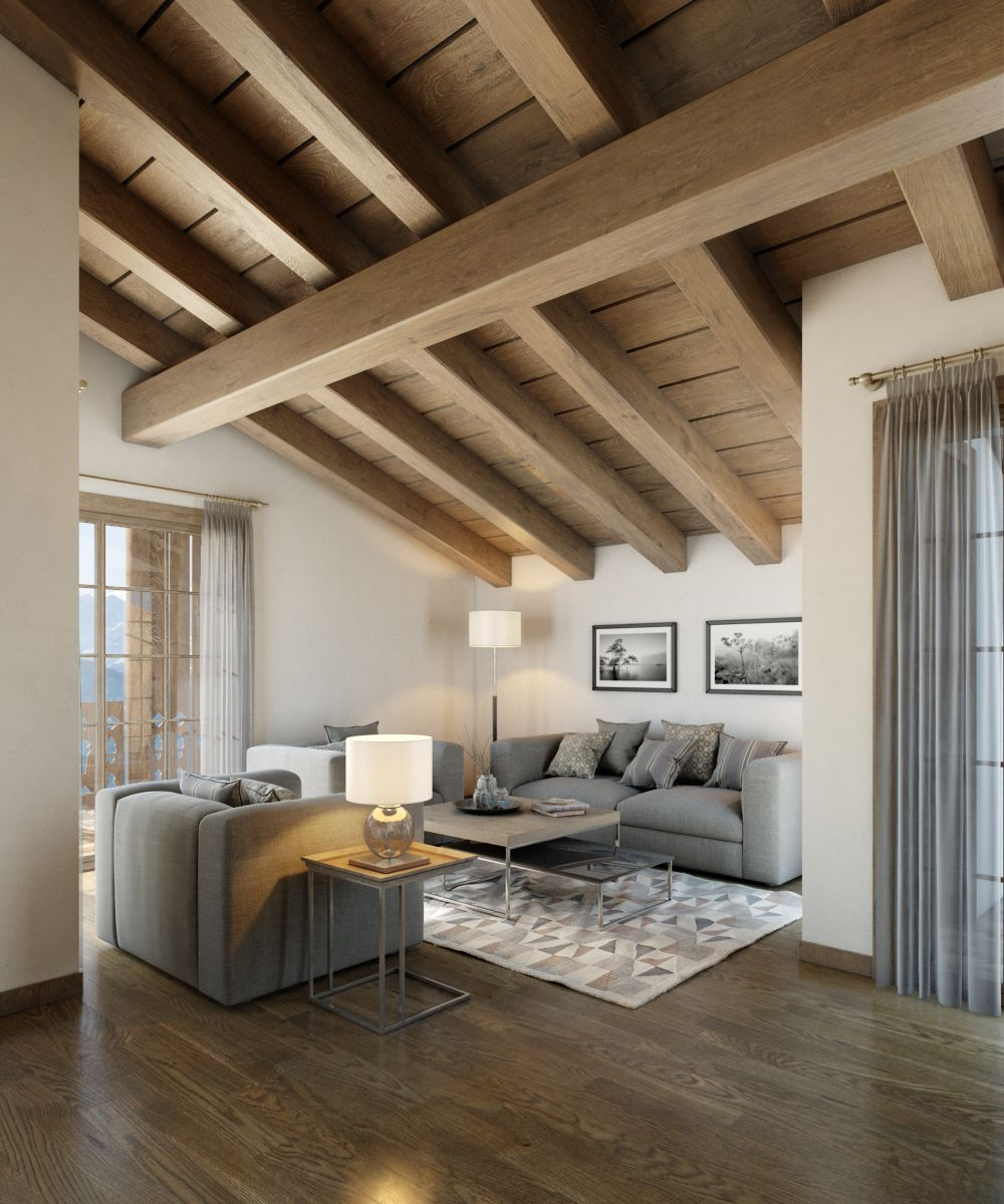 Chalet roof interior cg interior renders pinterest for Room roof design images
