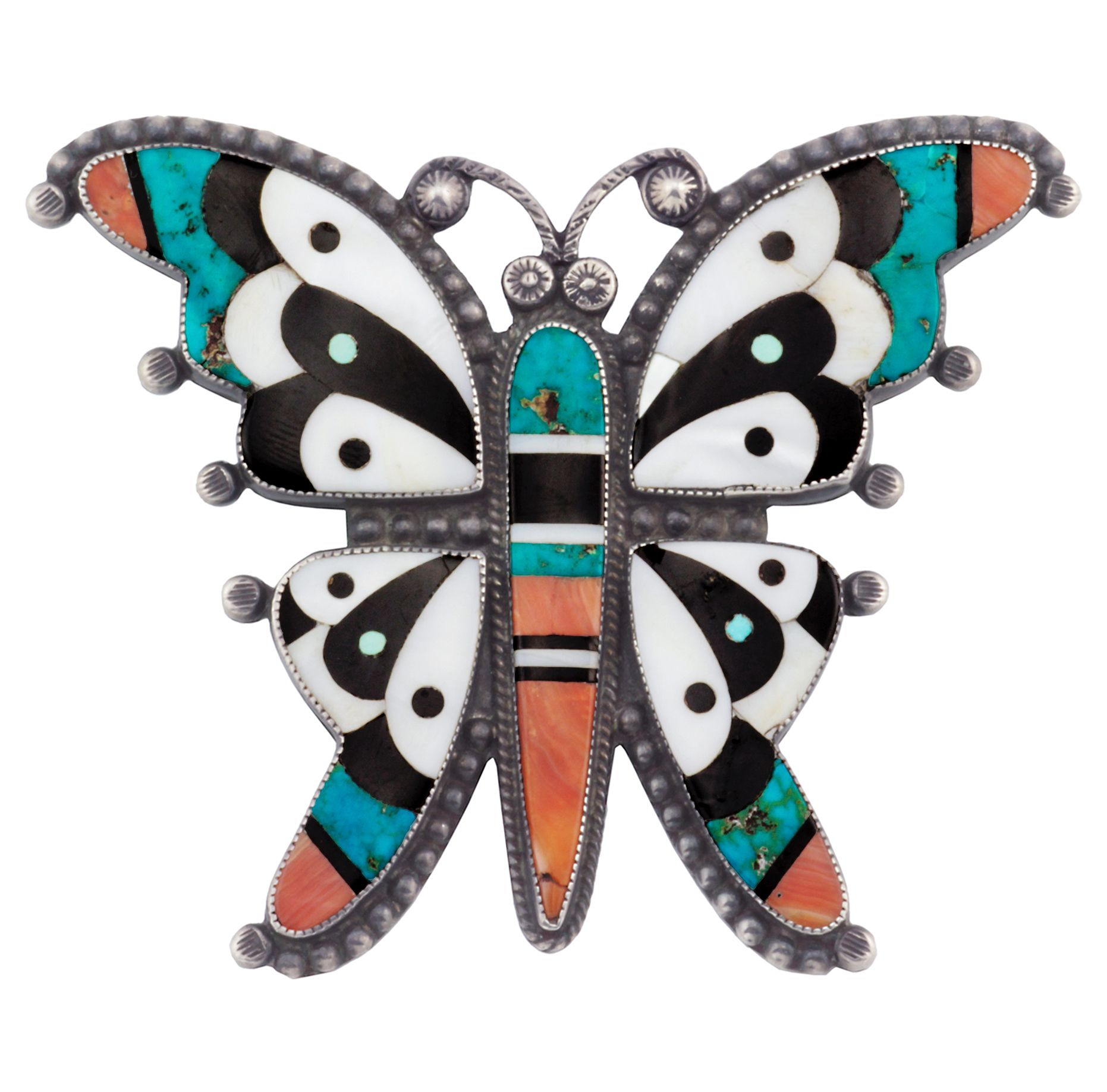 Historic Zuni inlaid butterfly pin Native american