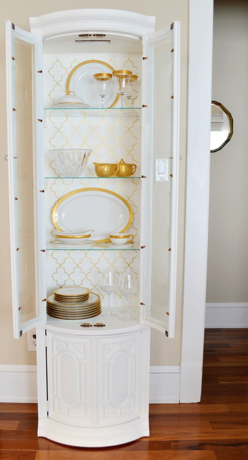 White China Cabinet Craigslist Makeover | Gold Stencil | Gold China | 724  South House
