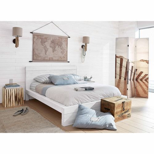 wei es bett aus gealtertem massivem mangoholz 140 x 190 wohnideen pinterest wood beds. Black Bedroom Furniture Sets. Home Design Ideas