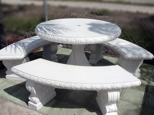 Round Concrete Table And Benches Inches Round Table With - Round concrete table with benches