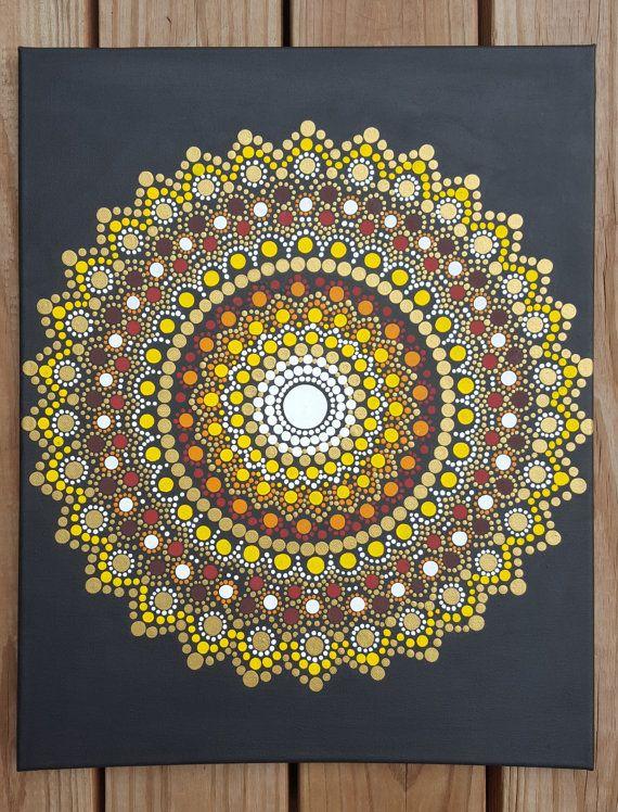 Arte de pared de mandala mandala pintura bohemia dot for Mural mandala