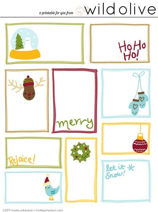 Imprimir tarjetas navideñas para decorar regalos | Plantillas ...