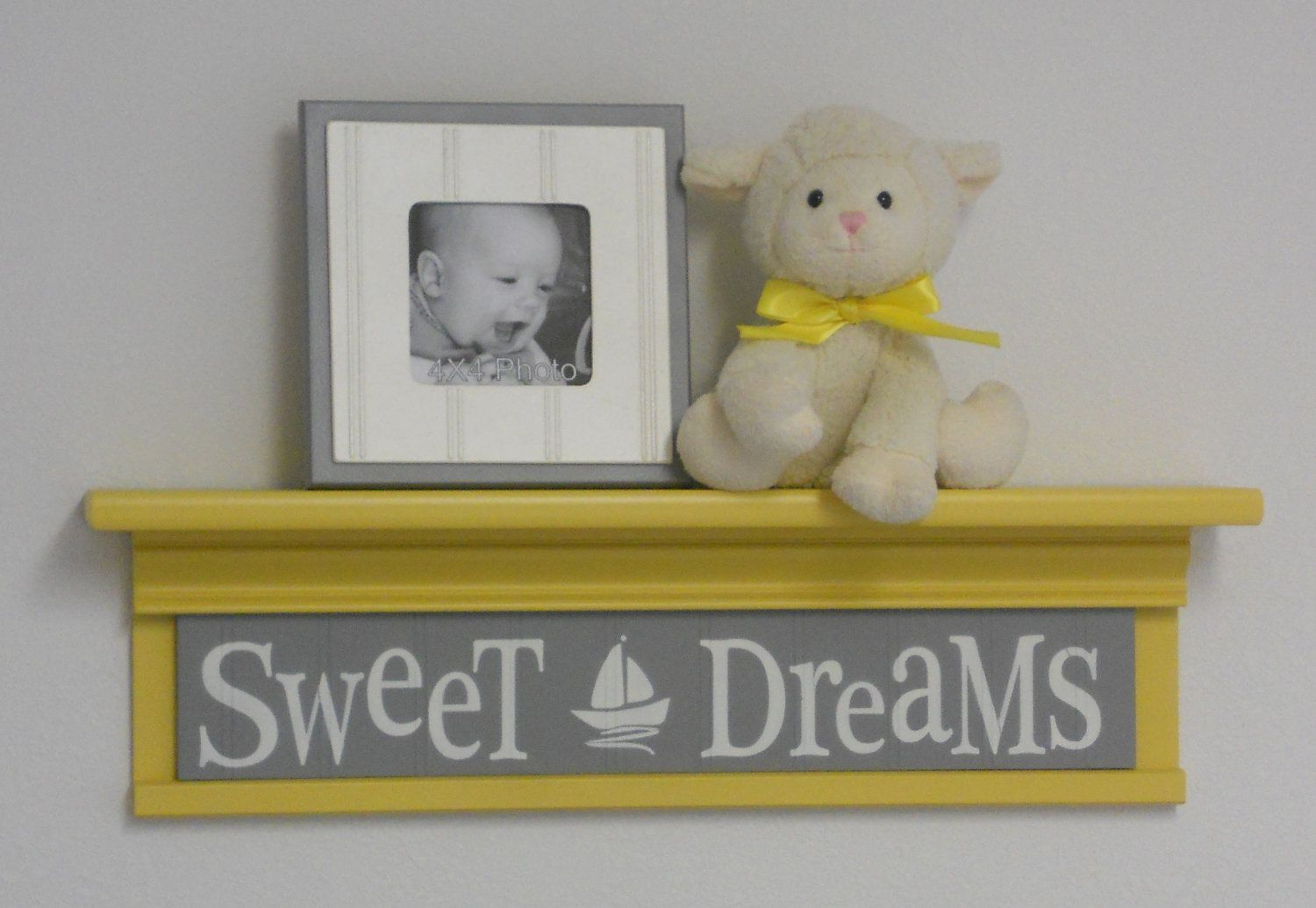 Yellow and Gray Nautical Nursery - Sweet Dreams - Sign on 24\