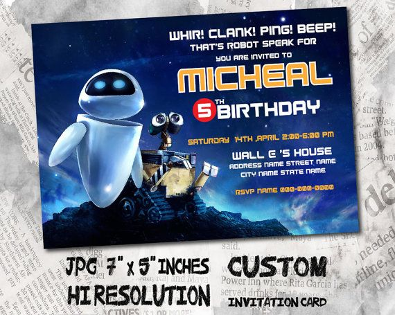 Wall E Birthday Invitation Card Size 5 X7 Inches Birthday Party