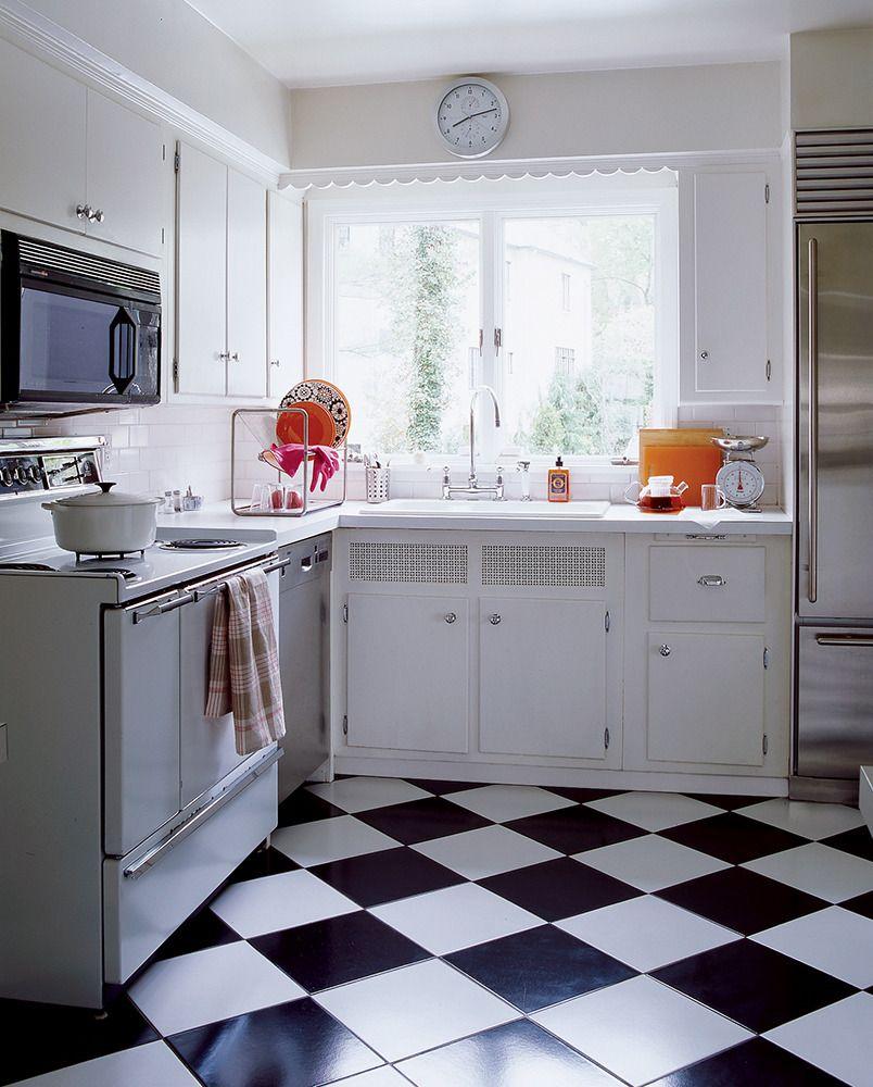 easy kitchen remodel unit led lights redo bennett simple 1950s checkerboard floor tile laminate countertops paired with sub zero fridge