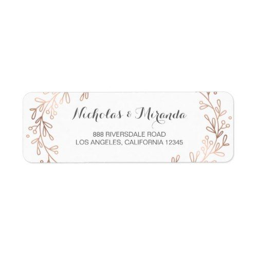 wedding return address labels, laurel, rose gold label Zazzle