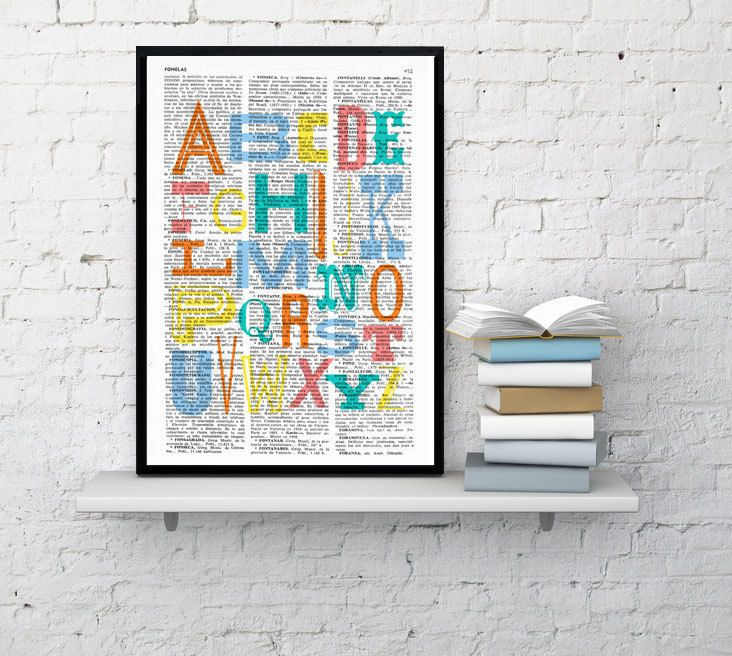 Wall hanging Nursery Alphabet book print  Typography by PRRINT, $7.99
