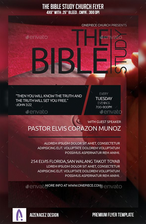 The Bible Study Church Flyer Flyer size, Print fonts and Fonts - benefit flyer template