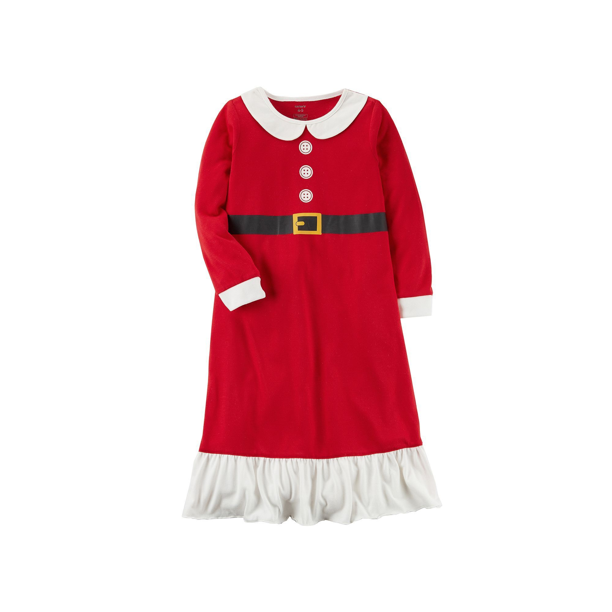 0115783cd Girls 4-14 Carter s Santa Fleece Nightgown