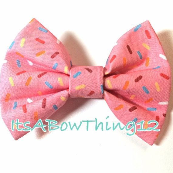 Pink Sprinkles Printed Bow by ItsABowThing12 on Etsy