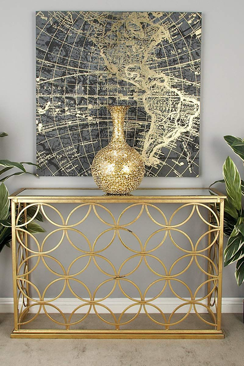 Metal Glass Console Table Gold Console Table Living Room Glass