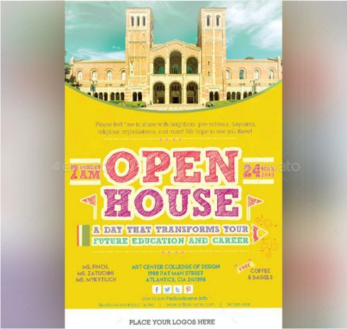 34 Spectacular Open House Flyers Psd Word Templates Demplates College Open House Open House College Open House