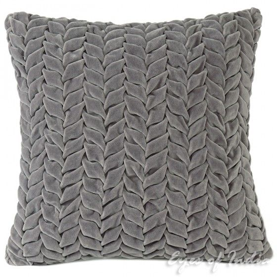 """16"""" Gray Hand-Quilted Velvet Toss Pillow Cushion Grey Cover Throw"""
