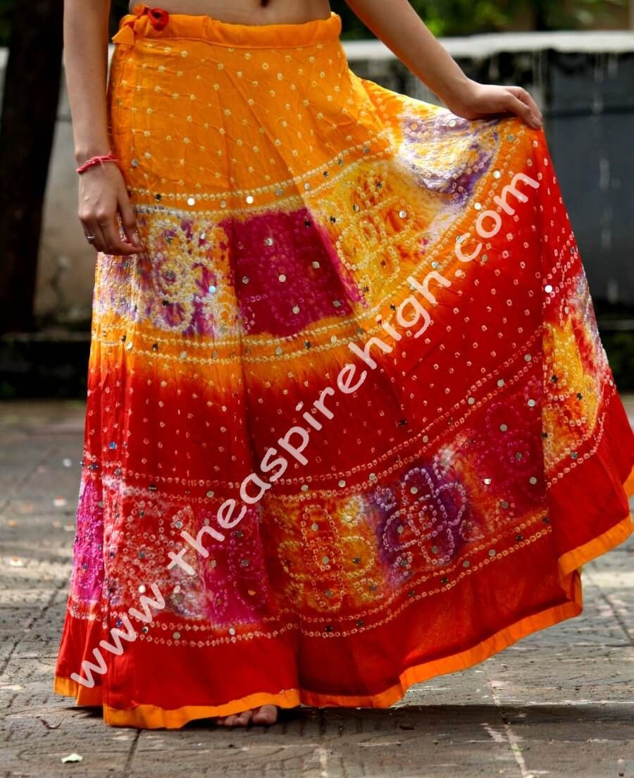 bc01efffd Multicolored Foil Mirror Worked Cotton Hand Bandhni Done Long Flared Skirt  Pattern 1 Rs. 1473 Our price is inclusive of GST taxes The cotton skirt in  ...