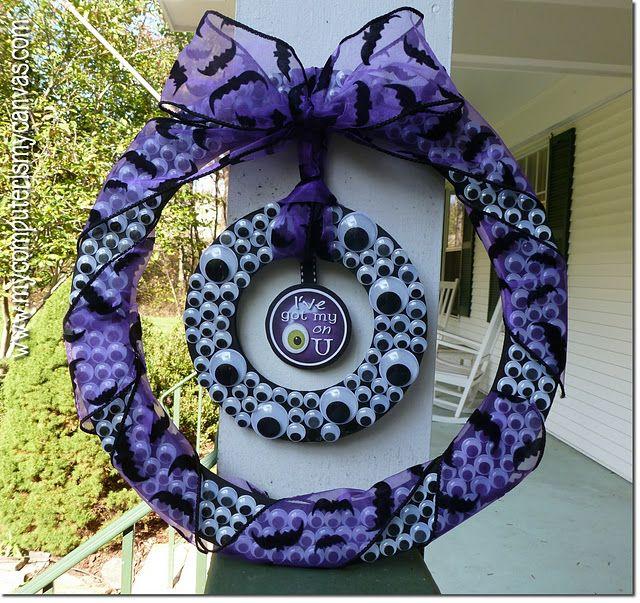 A wreath made using googlie eyes.