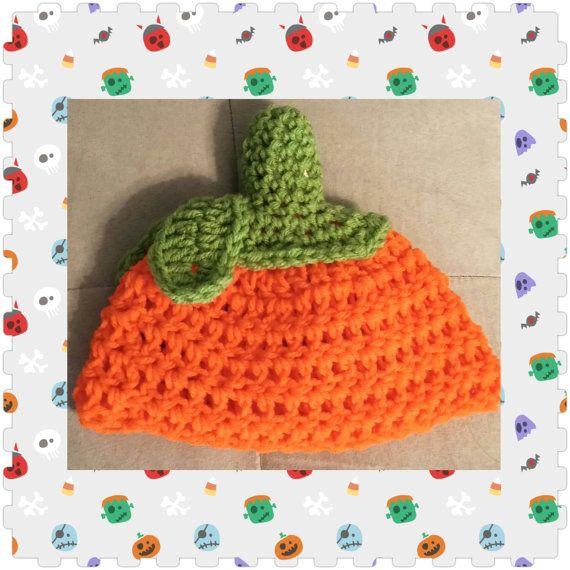 Crochet Pumpkin Beanie Newborn toddler by LaurenAshleysThings, $17.00