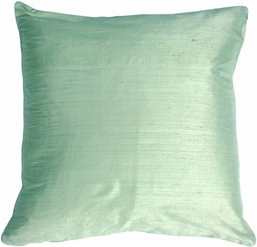 Dupioni Silk 22 Mint Green Throw Pillow