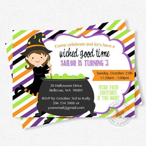 Halloween Birthday Invitation, Witch Party Invitation