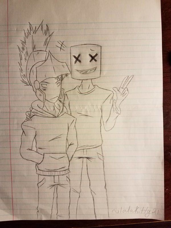 Rogue And Marshmello Sketch By Lalakitty21 Monstercat Fanart