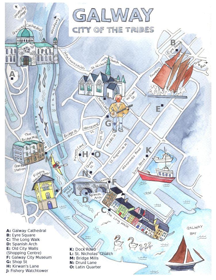 Map Of Galway Mit Bildern Galway Irland Stadt